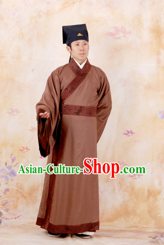 Ancient Chinese Tang Dynasty Suit Clothing and Hat for Men