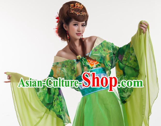 Green Long Trail Ancient Chinese Tang Dynasty Suit for Women