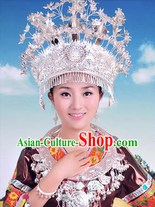 Traditional Hmong Miao Silver Headdress for Women