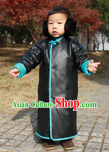 Traditional Chinese Black Thick Robe for Kids