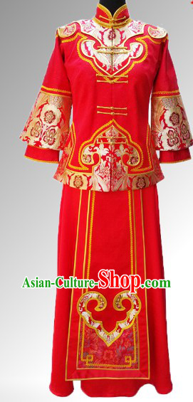 Traditional Chinese Xiu He Style Wedding Blouse and Skirt Complete Set for Brides