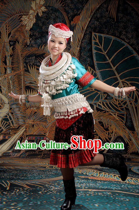 Traditional Chinese Miao Clothes and Necklace and Hat for Women