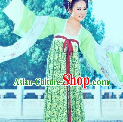 Green Traditional Chinese Tang Dynasty Ruqun Robe for Women