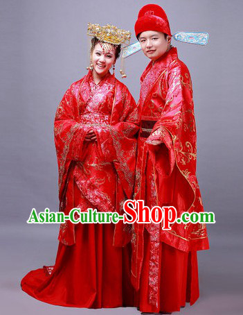 Traditional Chinese Wedding Dresses Clothing and Headwear for Bridegroom and Brides