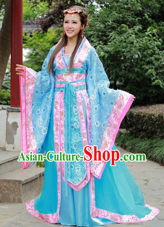 Blue Flower Traditional Ancient Chinese Tang Dynasty Empress Outfit for Women