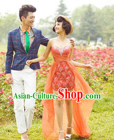Bride and Bridegroom Loves Theme Clothes for Wedding Photography Use