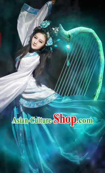 Blue and White Stage Performance Chinese Classical Dancing Costume for Women