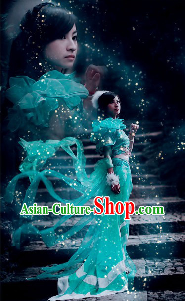 Green Chinese Biyao Cosplay Costumes and Headdress