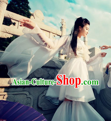 Pure White Ancient Chinese Clothes Lolita Cosplay Costume for Women