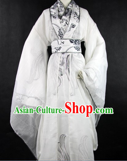 White Ancient Chinese Young Men Costumes