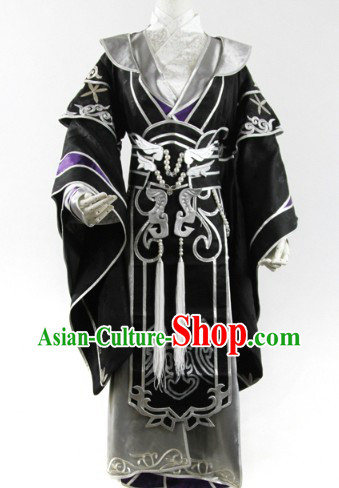 Ancient Chinese Black General Cosplay Hanfu Clothing for Men