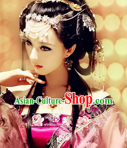Ancient Chinese Princess Hair Accessories and Necklace and Earrings