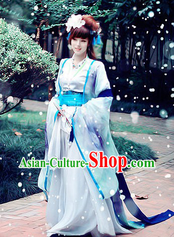 Ancient Chinese Princess Garment and Headdress Complete Set