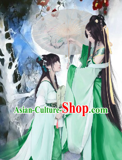 Ancient Chinese Green Imperial Maid Costume and Headpieces