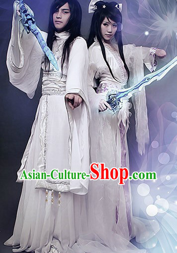 Ancient Chinese White Swordsman and Swordswoman Costumes Two Complete Sets