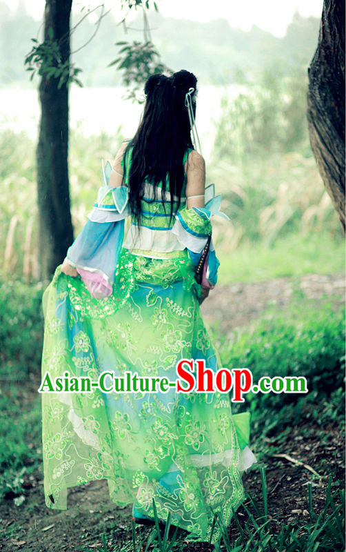 Ancient Chinese Bi Yao Cosplay Costumes and Headpieces for Women