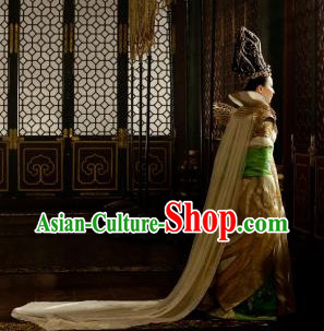 Ancient Chinese Tang Dynasty Wu Zetian Costumes and Hat for Women