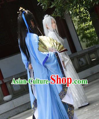 Ancient Chinese Blue Young Men Clothes for Men