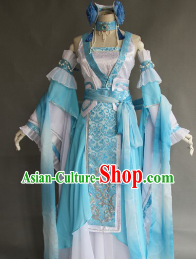 Ancient Chinese Long Kui Princess Costumes and Headpieces Complete Set for Women