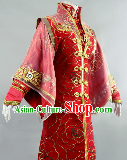 Traditional Chinese Red Wedding Robe for Women