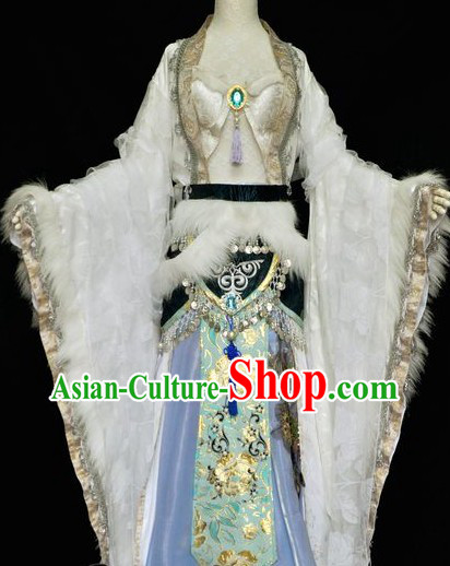 Traditional Ancient Chinese White Princess Costume for Women