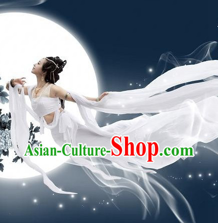 Ancient Chinese White Fei Tian Dance Costumes