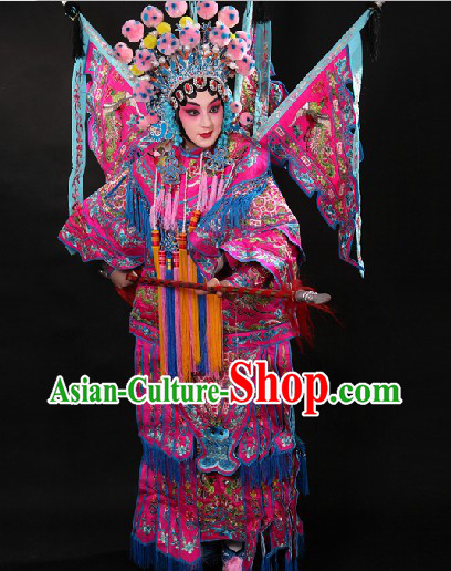 Ancient Chinese Female Warrior Mu Guiying Armor Dakao Costumes and Hat