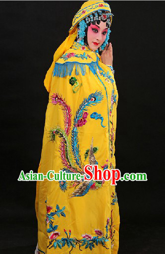 Yellow Traditional Chinese Princess Phoenix Embroidery Cape