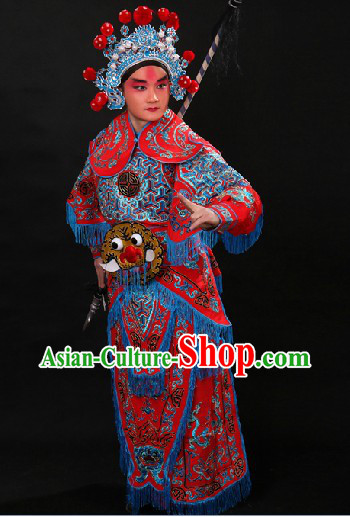 Ancient Chinese Hero Wusheng General Character Costumes and Hat