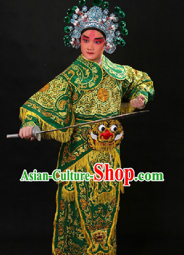 Traditional Chinese Opera Hero Wusheng General Character Outfit and Hat