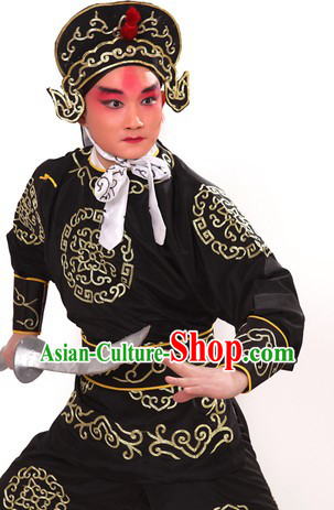 Black Traditional Chinese Opera Solider Character Suit and Hat for Men