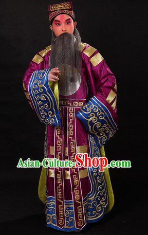 Zhu Geliang Chinese Opera Stage Performance Costumes and Hat for Men