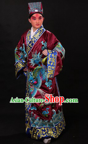 Chinese Opera Stage Performance Adviser Costumes and Hat for Men