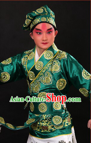 San Cha Kou Chinese Opera Stage Performance Wusheng Costumes and Hat for Men