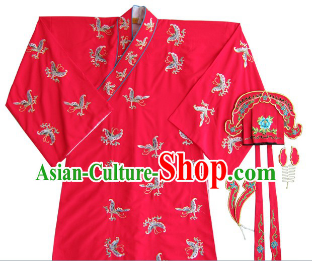 Chinese Classical Wedding Bridegroom Butterfly Embroidered Costumes and Hat