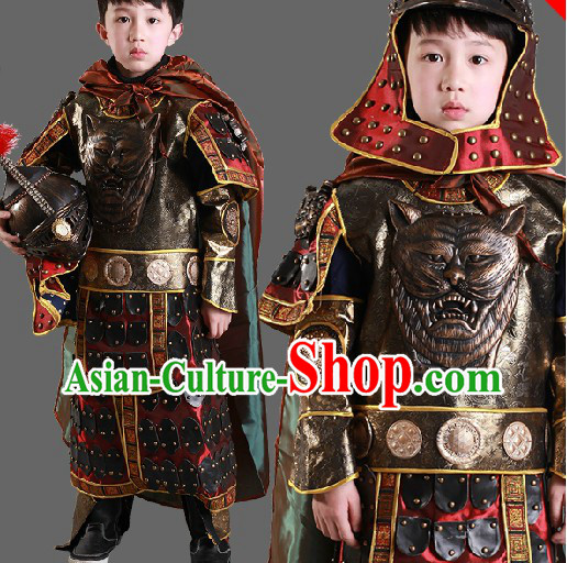 Ancient Chinese General Armor Costumes and Hat for Kids Boys