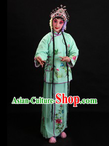 Traditional Chinese Green Beijing Opera Xiao Dan Costume