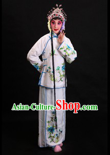 Traditional Chinese White Beijing Opera Xiao Dan Costumes