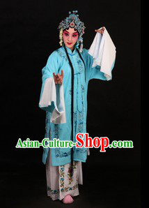 Blue Chinese Peking Opera Qingyi Role Costumes