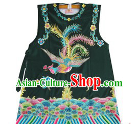 Black Traditional Chinese Opera Lao Dan Phoenix Embroidery Jacket