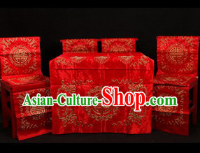 Traditional Chinese Peking Opera Imperial Palace Desk and Four Chairs Background