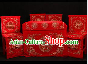 Traditional Chinese Opera Stage Performance Desk and Four Chairs Background