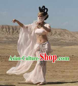 Ancient Chinese Feitian Flying Apsaras Dance Costumes and Wig for Women