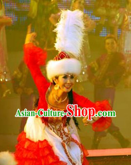 Traditional Chinese Ceremonial Xinjiang Clothes and Hat for Women