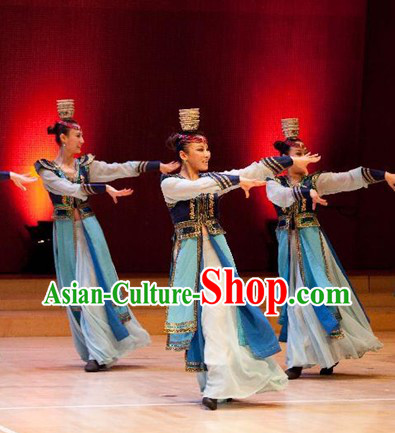 Traditional Chinese Xinjiang Minority Dance Costume and Hat for Women