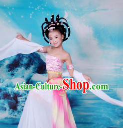 Ancient Chinese Fairy Dancing Costume and Wig for Kids