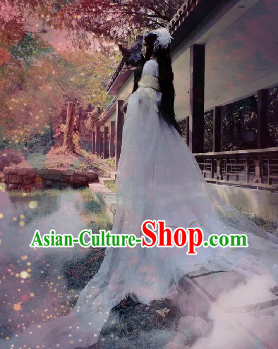 Long White Chinese Fairy Costumes and Headpieces
