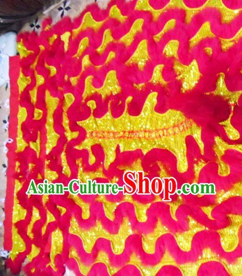 Red Long Wool Gold Sequins Competition and Parade Lion Dance Tail Pants Claws Set