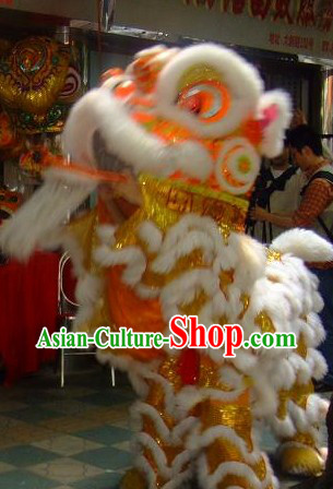 Professional Chinese Long Wool Fut San Lion Dance Costumes Complete Set