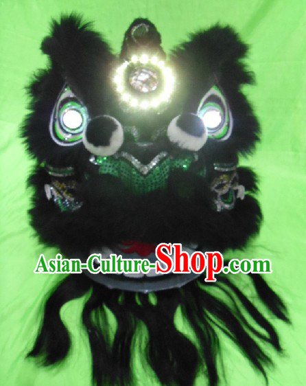 Black Wool Chinese Classic Lion Dance Costumes Complete Set for Adults